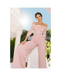 Quiz - Dusky Pink Lace Sequin Scallop Jumpsuit - Lyst