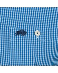 Raging Bull - Big And Tall Mid Blue Long Sleeve Small Gingham Shirt for Men - Lyst
