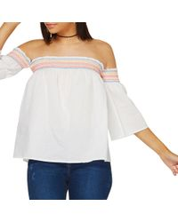 9059f909c85325 Dorothy Perkins Ivory Separate Sleeve Bardot Top in White - Lyst