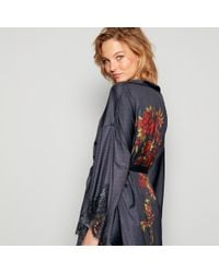 Jenny Packham. Women s Gray Grey Floral Print Satin Kimono Dressing Gown 3b19015bb