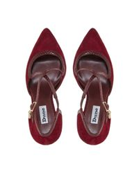 Dune - Red Maroon 'clareece' Cross Over Strap Pointed Toe Court Shoes - Lyst