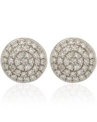 Monica Vinader | Metallic Silver Diamond Ava Button Stud Earrings | Lyst