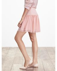 Banana Republic | Pink Shirred Drop-waist Skirt | Lyst