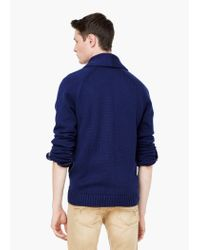 Mango | Blue Shawl Collar Cotton Cardigan for Men | Lyst