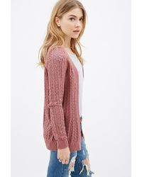 Forever 21 - Purple Ribbed Open-knit Cardigan - Lyst