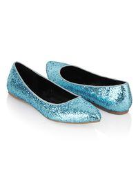 Forever 21 - Blue Glittered Ballet Flats - Lyst
