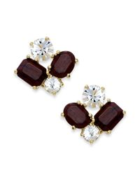 kate spade new york | Metallic New York Goldtone Dark Wood and Crystal Cluster Stud Earrings | Lyst