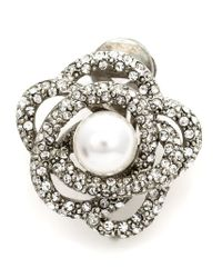 Oscar de la Renta | Metallic Flower Pearl Clip-on Earrings | Lyst