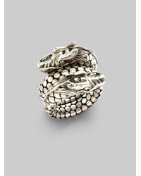 John Hardy | Metallic Naga Sterling Silver Dragon Dot Coil Ring | Lyst