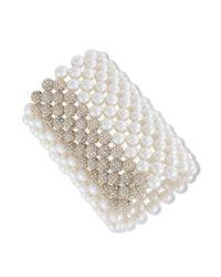 Carolee - White Goldtone Glass Pearl Wide Stretch Bracelet - Lyst