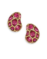 Oscar de la Renta | Pink Flower Swarovski Crystal Clip Earrings/goldtone | Lyst