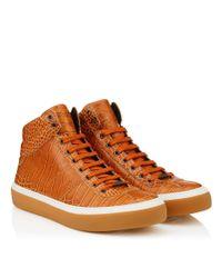 Jimmy Choo - Orange Belgravia Rust Shiny Croc Embossed Leather High Top Trainers for Men - Lyst