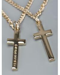 DSquared² | Metallic Double Crucifix Necklace for Men | Lyst