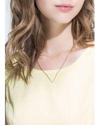 Mango | Metallic V Pendant Necklace | Lyst