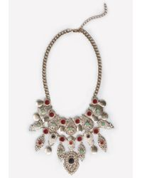 Bebe | Metallic Filigree & Stone Necklace | Lyst