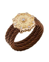 Charriol | Brown Women's Celtique Rose 18k Gold And Bronze-tone Diamond .13tcw Ring | Lyst