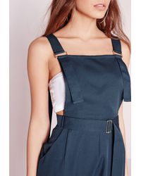Missguided - Blue Strappy Dungaree D-ring Jumpsuit Navy - Lyst
