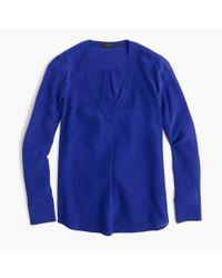 J.Crew - Blue Silk Drapey V-neck Blouse - Lyst