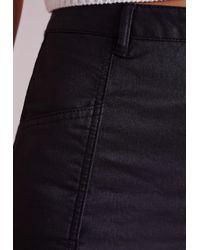 Missguided - Coated Denim Mini Skirt Black - Lyst