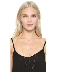 Serefina | Metallic Layered Stone Necklace - Tourmaline/gold | Lyst