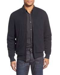 John Varvatos | Gray Knit Baseball Jacket With Leather Trim for Men | Lyst