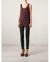 Saint Laurent | Red Cherry Print Tank Top | Lyst