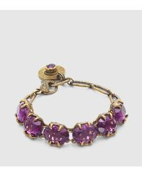 Gucci | Metallic Crystal Bracelet In Aged Gold Metal | Lyst
