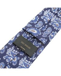 Dell'Oglio - Blue Cashmere Print Silk Tie for Men - Lyst