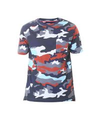 Moncler Gamme Bleu. Men's Blue Camouflage Cotton T-shirt