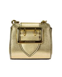 Burberry | Metallic Gold Micro Tote Leather Bag | Lyst