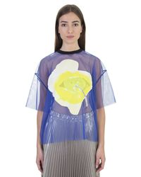 MSGM - Blue Tulle T-shirt With Floral Patch - Lyst