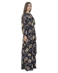 Tory Burch - Black Silk Indie Maxi Dress With Floreal Print - Lyst