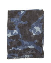 Valentino | Blue Camouflage Printed Scarf | Lyst