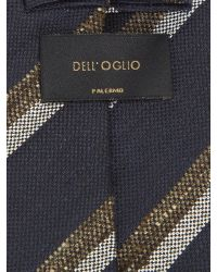 Dell'Oglio - Blue And Brown Regimental Linen And Silk Tie for Men - Lyst
