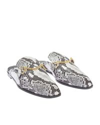 Stella McCartney | Black And White Faux Python Loafers Sabot | Lyst
