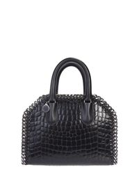 Stella McCartney | Black Snakeskin Effect Mini Falabella Bag | Lyst