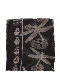 Alexander McQueen - Silk And Modal Scarf With Pink Skulls And Dragonflies - Lyst