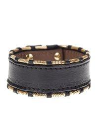 Givenchy - Black Leather And Gold Metal Shark Bracelet - Lyst