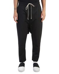 Rick Owens | Black Nylon Low Crotch Trousers With Drawstring for Men | Lyst