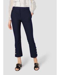 10 Crosby Derek Lam - Blue Cropped Flare Trouser With Button Slit Hem Detail - Lyst