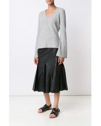 Derek Lam | Gray L/s V-neck Sweater W/ Button Detail | Lyst