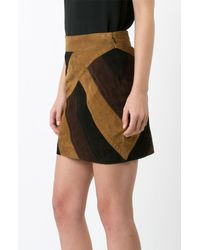 Derek Lam | Black Colorblocked Mini Skirt | Lyst