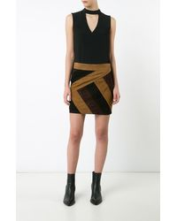 Derek Lam | Black Colorblocked Mini Skirt | Lyst