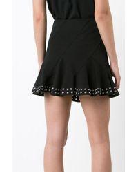 Derek Lam   Black Flare Mini Skirt With Grommets   Lyst