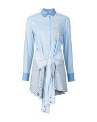 Derek Lam - Blue L/s Tie-waist Shirtdress - Lyst