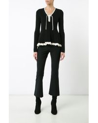 Derek Lam   Black Long Sleeve V-neck Peplum Sweater With Lacing   Lyst