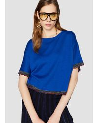 Derek Lam - Blue 10 Crosby Short Sleeve Sweater With Rib Trim - Lyst
