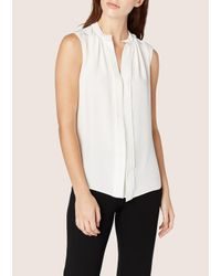 Derek Lam - White Sleeveless Blouse With Nehru Collar - Lyst