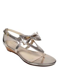 Adrienne Vittadini | Verne Metallic Leather Sandals | Lyst