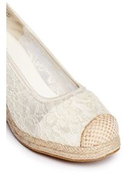 Stuart Weitzman - White 'Caye Abby' Lace Espadrille Wedge Junior Pumps - Lyst
